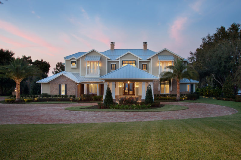 front elevation of custom built home with circular driveway