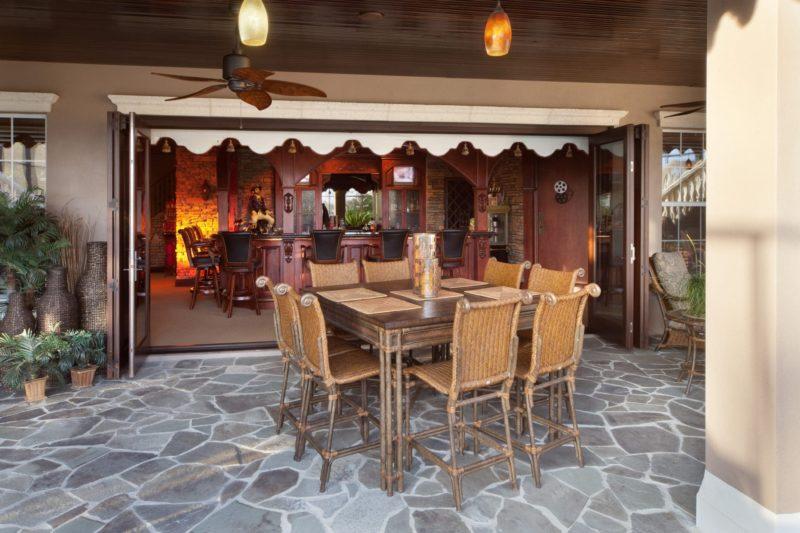 custom outdoor patio and indoor bar