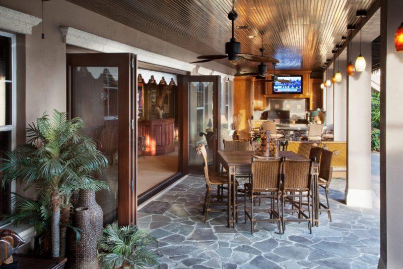 open doors to custom patio