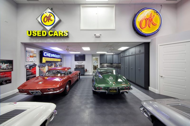 Classic car garage interior